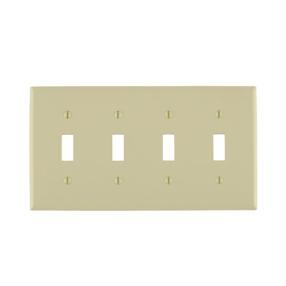 Leviton 80712-I 8.19 x 0.22 x 4.5 Inch 4-Gang Smooth Ivory Thermoplastic Nylon Device Mount Standard Toggle Switch Wallplate