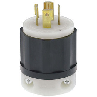 Leviton 2511 20 Amp 120/208 Volt NEMA L21-20P 4-Pole 5 Wire Industrial Grade Grounding Black/White Locking Plug
