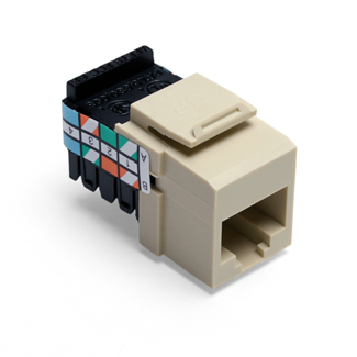 Leviton 41108-RI3 Category 3 Ivory Plastic Snap-In 8-Position 8-Conductor UTP Jack Connector