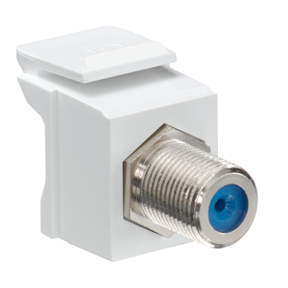 Leviton 41084-FWF 75 Ohm Nickel Plated White Plastic Female-to-Female Screw-On Feed-Through F-Connector