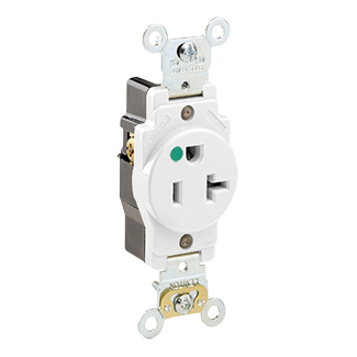 Leviton 8310-W 20 Amp 125 Volt NEMA 5-20R 2-Pole 3 Wire Self Grounding Back and Side Wired Steel Strap White Single Receptacle
