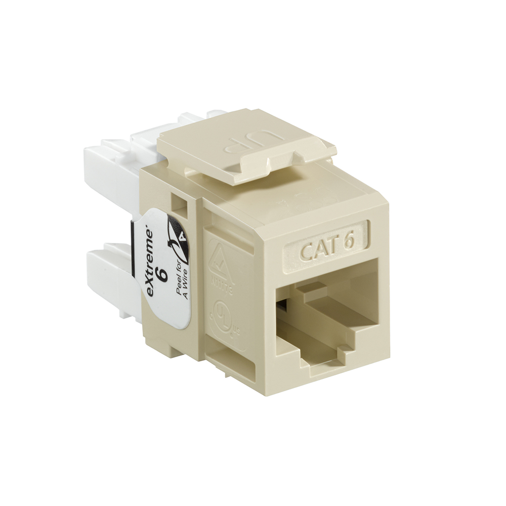 Leviton 61110-RI6 Category 6 Ivory Plastic Snap-In 8-Position 8-Conductor UTP Jack Modular Connector
