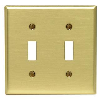 2-Gang Toggle Device Switch Wallplate, Standard Size, Brass, Device Mount, - Brass