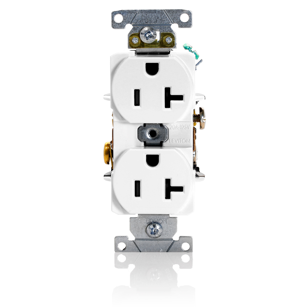 Leviton 5352-W 20 Amp 125 Volt NEMA 5-20R 2-Pole 3 Wire Heavy Duty Specification Grade Straight Blade White Receptacle