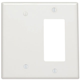 Leviton 80608-W 4.94 x 0.255 x 4.875 Inch 2-Gang Smooth White Thermoset Strap Mount Midway Combination Wallplate