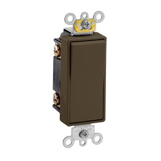 Leviton 5623-2 20 Amp 120/277 Volt Decora Plus Rocker 3-Way Commercial Spec Grade Self Grounding Brown AC Quiet Switch