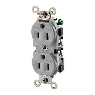 Duplex Receptacle Outlet, Heavy-Duty Industrial Specification Grade, Weather and Tamper-Resistant,Smooth Face, 15 Amp, 125 Volt, Back or Side Wire, NEMA 5-15R, 2-Pole, 3-Wire, Self-Grounding - Gray