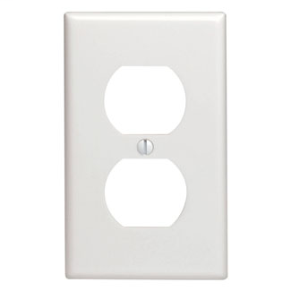 1-Gang Duplex Device Receptacle Wallplate, Standard Size, Thermoset, Device Mount - White