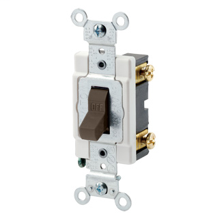 15 Amp, 120/277 Volt, Toggle Single-Pole AC Quiet Switch, Commercial Spec Grade, Grounding, Back & Side Wired, - Brown