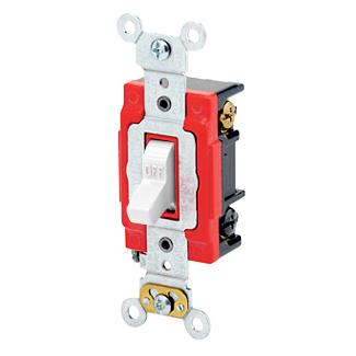 Leviton 1223-2W 120/277 VAC 20 Amp 2 Hp 3-Way White Thermoplastic Self Grounding Toggle Quiet Switch