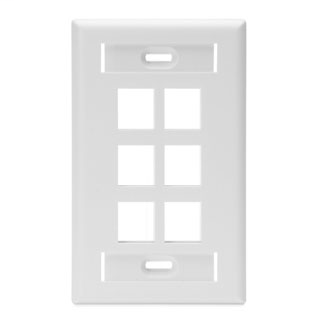 Leviton 42080-6WS Single Gang 6-Port White QuickPort Wallplate with ID Windows