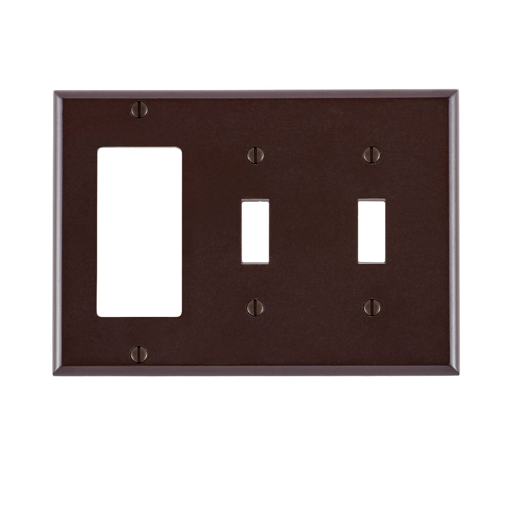 3-Gang 2-Toggle 1-Decora/GFCI Device Combination Wallplate/Faceplate, Standard Size, Thermoset, Device Mount - Brown