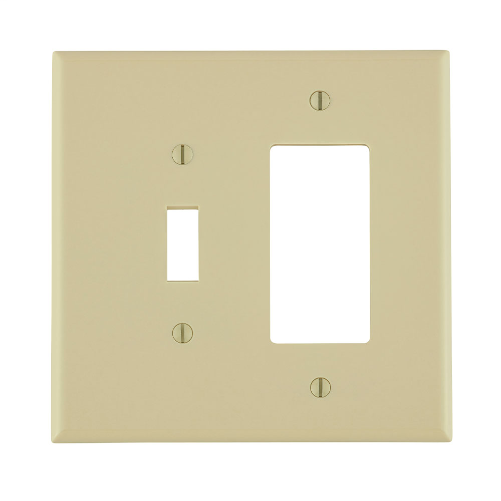 Leviton 86605 2-Gang 1-Toggle 1-Decora/GFCI Device Mount Oversized Thermoset Ivory Combination Wallplate