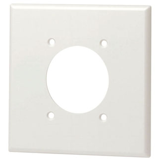 Leviton 80526-W 4.562 x 0.26 x 4.5 Inch 2-Gang Smooth White Thermoset Device Mount Standard Receptacle Wallplate