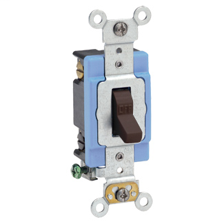 Leviton 1202-2 15 Amp 120/277 Volt Extra Heavy Duty Spec Grade Self Grounding Brown Toggle Double-Pole AC Quiet Switch