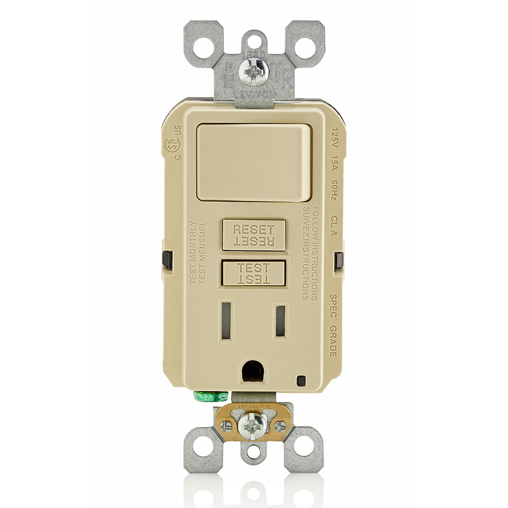 SmartlockPro Slim GFCI Combination Switch. Tamper-Resistant Receptacle with LED Indicator. 15 Amp, 125 Volt. Switch 1800 Watts, 120V AC. Monochromatic, Back and Side Wired, Wallplate/Faceplate Sold Separately, Self-Grounding Clip Included -Ivory