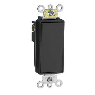 Leviton 5691-2E 120/277 VAC 15 Amp 1-Pole 2 Hp Black Thermoplastic Self Grounding Rocker Quiet Switch