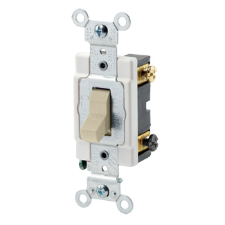 20 Amp, 120/277 Volt, Toggle 3-Way AC Quiet Switch, Commercial Spec Grade, Grounding, Back & Side Wired, - Ivory