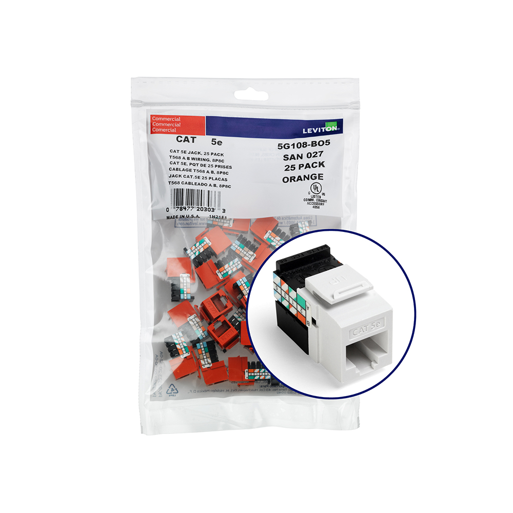 Leviton 5G108-BW5 Category 5E White Plastic 1-Piece Channel Rated UTP Jack Connector
