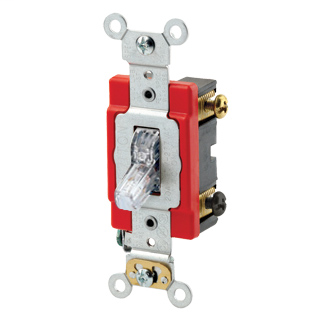 20 Amp, 120 Volt, Toggle Pilot Light - Illuminated ON - Req. Neutral Double-Pole AC Quiet Switch, Industrial Grade, Self Grounding, Back & Side Wired, - Clear