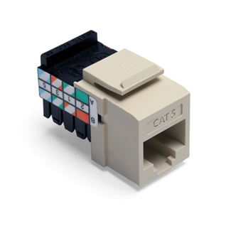 Leviton 41108-RI5 Category 5 Ivory Plastic Snap-In 8-Position 8-Conductor UTP Jack Connector