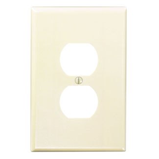 Leviton 86103 3.5 x 0.255 x 5.25 Inch 1-Gang Smooth Ivory Thermoset Device Mount Oversize Duplex Receptacle Wallplate