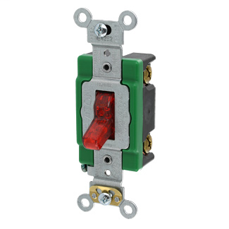 Leviton 3031-PLR 120 VAC 30 Amp 1-Pole 2 Hp Red Thermoplastic Self Grounding Illuminated Toggle Quiet Switch