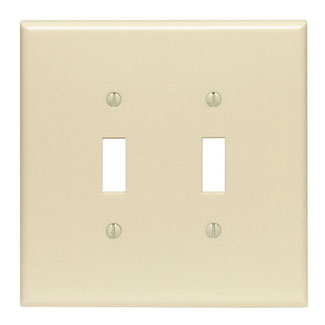 Leviton 86109 5.31 x 0.255 x 5.25 Inch 2-Gang Smooth Ivory Thermoset Device Mount Oversize Toggle Switch Wallplate