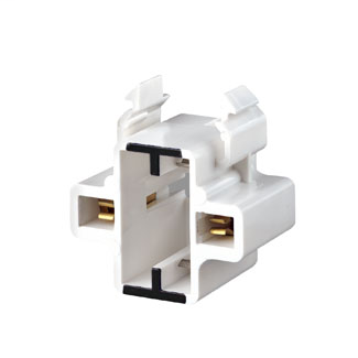 GX23, GX23-2 Base, 2-Pin, Compact Fluorescent Lampholder, Horizontal, Snap-In, Black Color Code, , Quick-Connect 18AWG Solid or Str. Tinned - White Body
