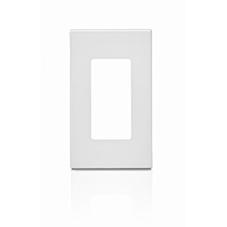 Leviton 80301-SW 2.75 x 0.25 x 4.6 Inch 1-Gang Smooth White Polycarbonate Snap-On Screwless Standard Decorator Wallplate