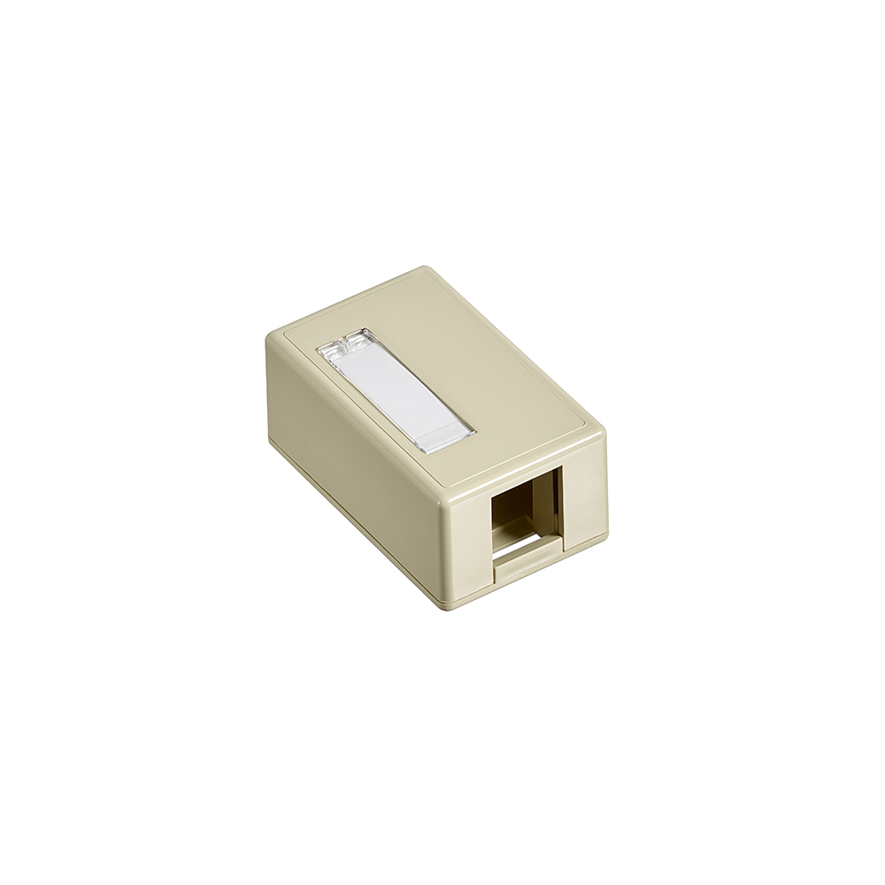 Surface-Mount QuickPort Box, Plenum Rated, 1-Port, Ivory