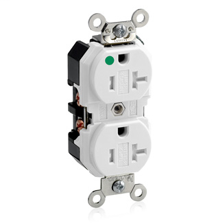 Duplex Receptacle Outlet, Extra Heavy-Duty Hospital Grade, Tamper-Resistant, Smooth Face, 20 Amp, 125 Volt, Back or Side Wire, NEMA 5-20R, 2-Pole, 3-Wire, Self-Grounding - White