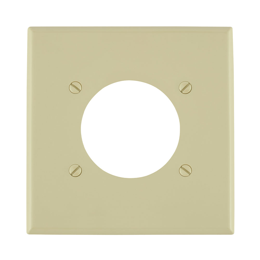 Leviton 80726-I 2-Gang Flush Mount 2.15 Inch Diameter Device Receptacle Standard Size Ivory Wallplate