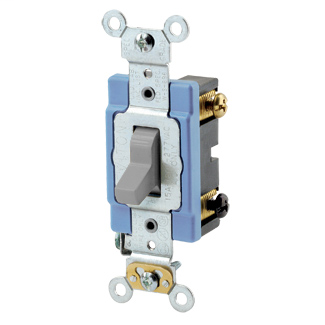 15 Amp, 120/277 Volt, Toggle 3-Way AC Quiet Switch, Extra Heavy Duty Spec Grade, Self Grounding, Back Wired - GRAY