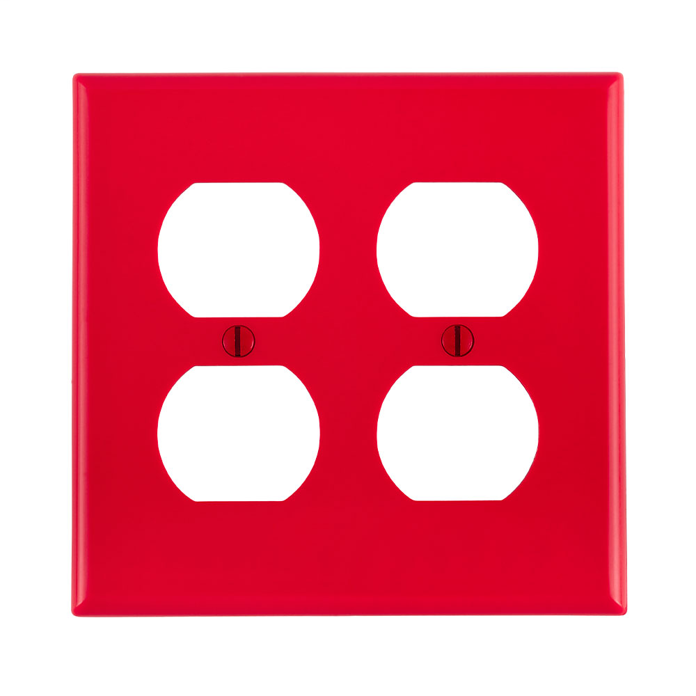 Leviton 80716-R 2-Gang Duplex Device Mount Receptacle Standard Size Thermoplastic Nylon Red Wallplate