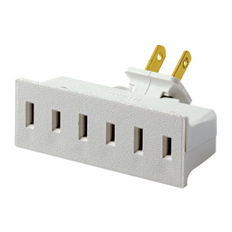 15 Amp, 125 Volt, NEMA 1-15R, Single-to-Triple, Swivel Adapter, 3 Flat Plugs Accepted - White