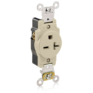 Single Receptacle Outlet, Heavy-Duty Industrial Specification Grade, Smooth Face, 20 Amp, 250 Volt, Back or Side Wire, NEMA 6-20R, 2-Pole, 3-Wire, Self-Grounding - Ivory