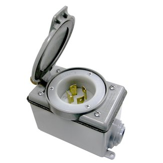 Generator Inlet Kit, 30A, 125/250V, Includes Flanged Inlet, Weatherproof Cover and FD Box - GRAY