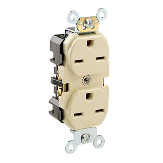 Single Receptacle 125 Volt Leviton 5261 15 Amp Self Grounding Straight Blade Industrial Heavy Duty Grade Brown