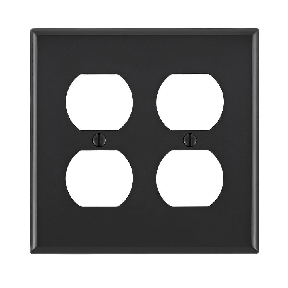 Leviton 80716-E 4.56 x 0.22 x 4.5 Inch 2-Gang Smooth Black Nylon Device Mount Standard Duplex Receptacle Wallplate