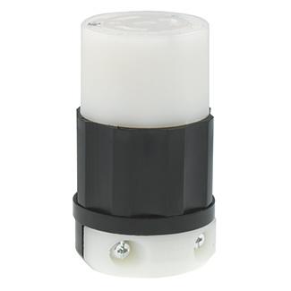 Leviton 2363 20 Amp 125/250 Volt NEMA L10-20R 3-Pole 3 Wire Industrial Grade Non-Grounding Black/White Locking Connector