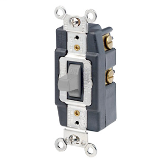 20 Amp, 120/277 Volt, Toggle Double-Throw Ctr-OFF Maintained Contact Single-Pole AC Quiet Switch, Extra Heavy Duty Spec Grade, Grounding, Back & Side Wired, - Gray