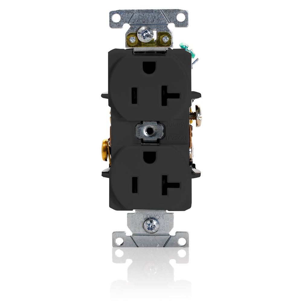 Leviton 5352-E 20 Amp 125 Volt NEMA 5-20R 2-Pole 3 Wire Heavy Duty Specification Grade Black Duplex Receptacle