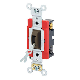 20 Amp, 120/277 Volt, Toggle Locking 4-Way AC Quiet Switch, Industrial Grade, Self Grounding, Back & Side Wired, - Brown