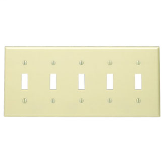 Leviton 86023 10 x 0.22 x 4.5 Inch 5-Gang Smooth Ivory Thermoset Device Mount Standard Toggle Switch Wallplate