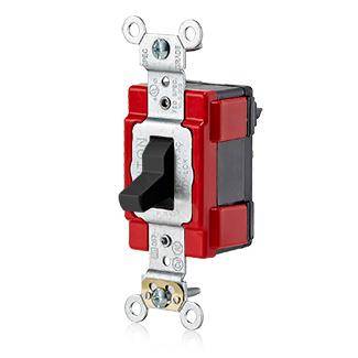 20 Amp, 120/277 Volt, 3-Way Toggle Switch, Extra Heavy Duty Specification Grade, Self Grounding, Lev-Lok Modular – BLACK