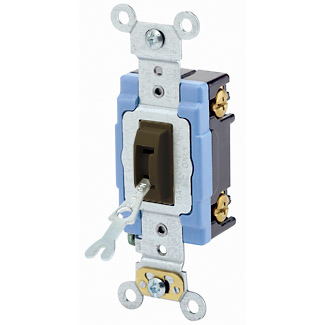15 Amp, 120/277 Volt, Toggle Locking Single-Pole AC Quiet Switch, Industrial Grade, Self Grounding, Back & Side Wired, - Brown
