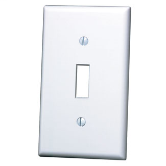 Leviton 88001 2.75 x 0.22 x 4.5 Inch 1-Gang Smooth White Thermoset Device Mount Standard Toggle Switch Wallplate
