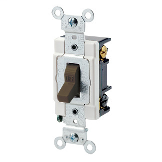 20 Amp, 120/277 Volt, Toggle 3-Way AC Quiet Switch, Heavy Duty Spec Grade, Grounding, Back & Side Wired - BROWN