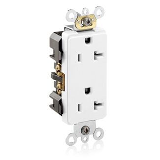 Decora Plus Duplex Receptacle Outlet, Heavy-Duty Industrial Specification Grade, Smooth Face, 20 Amp, 125 Volt, Back or Side Wire, NEMA 5-20R, 2-Pole, 3-Wire, Self-Grounding - White